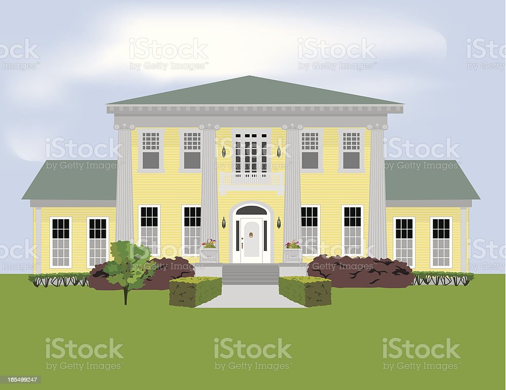Graphic of a large stately home with a large garden vector art illustration