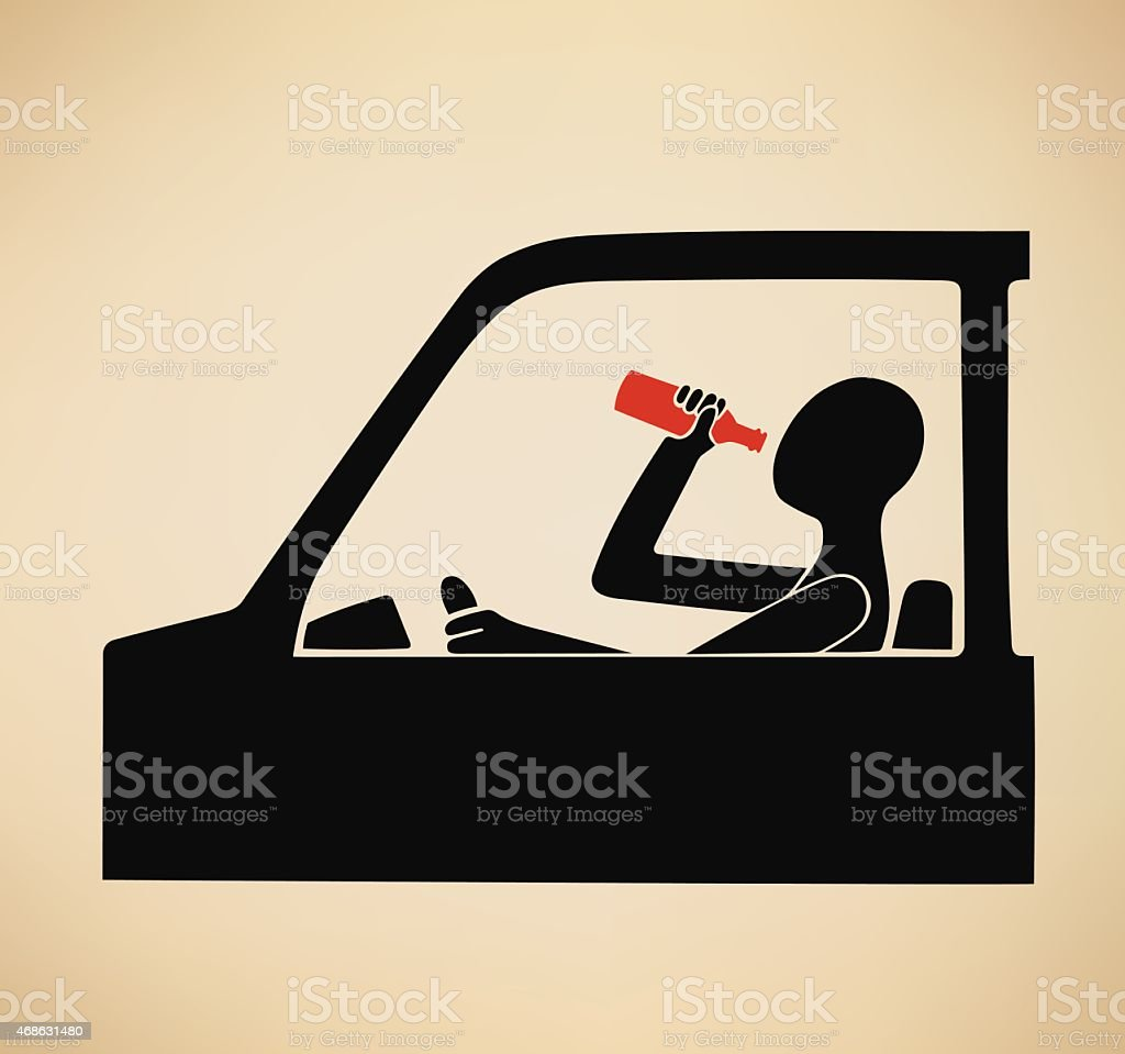 Graphic of a man drinking and driving vector art illustration