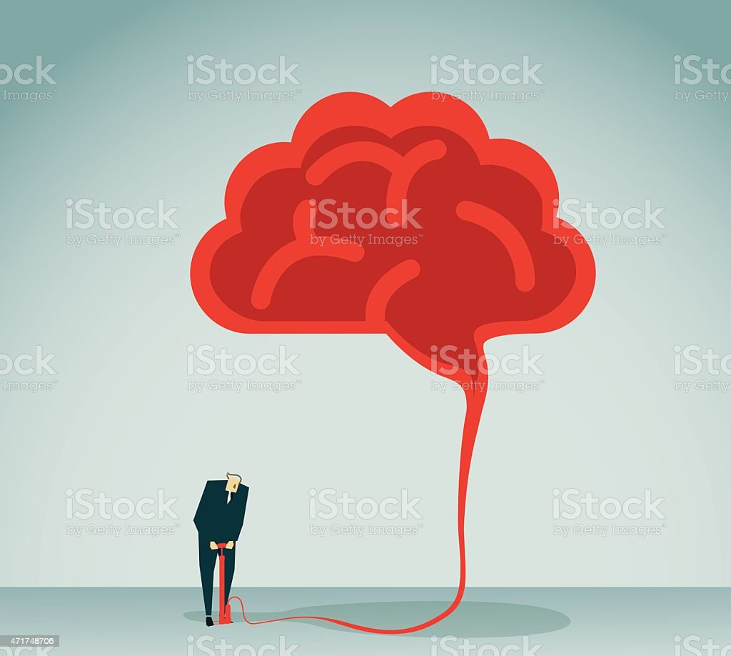 Graphic of a man inflating a red brain vector art illustration
