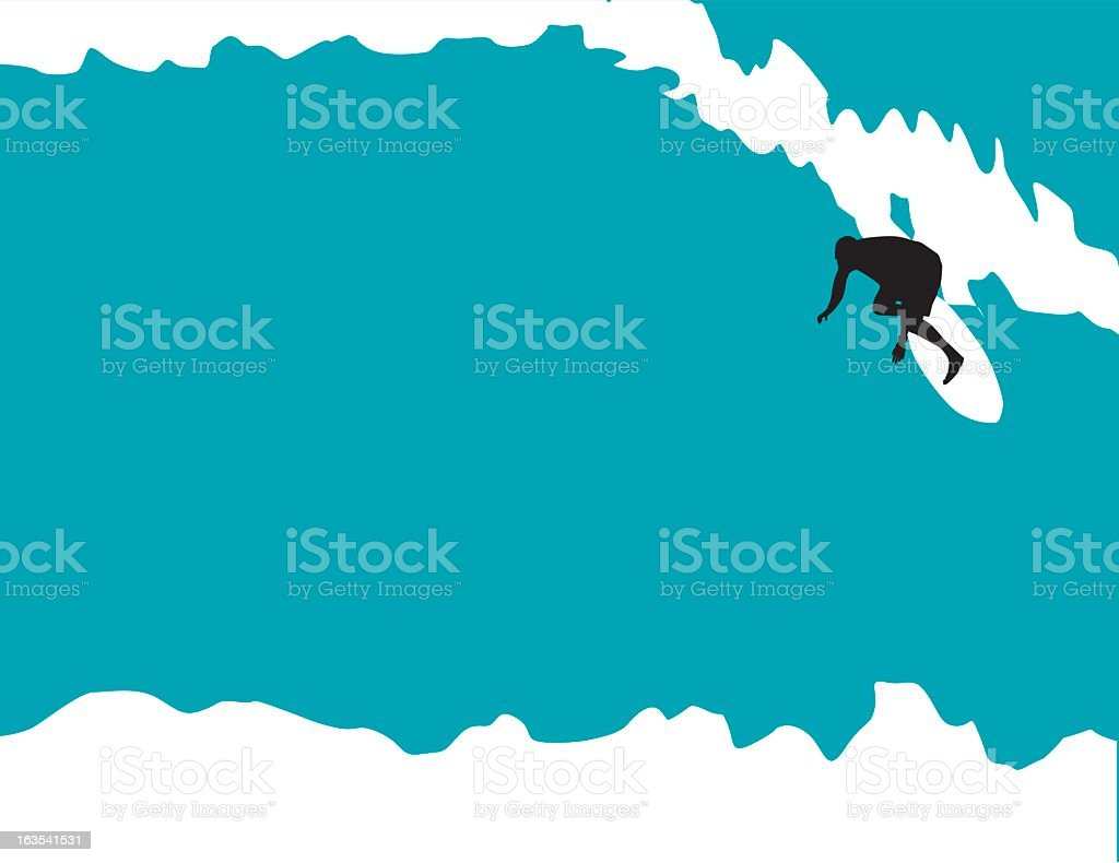A graphic of a man surfing on the ocean royalty-free stock vector art