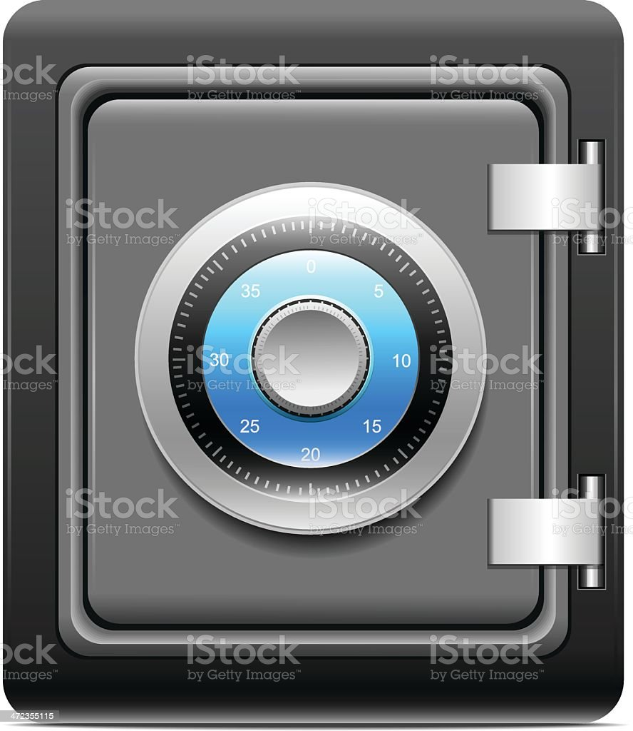 Graphic of a metal safe with combination lock royalty-free stock vector art