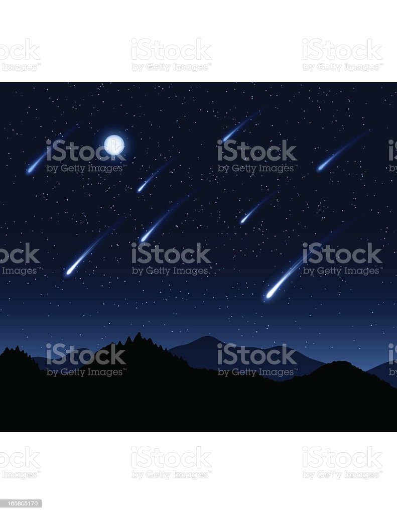 Graphic of a night sky during a meteor shower with moon royalty-free stock vector art