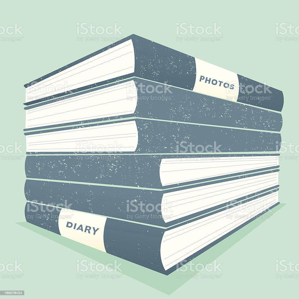 Graphic of a pile of books in blue shades royalty-free stock vector art
