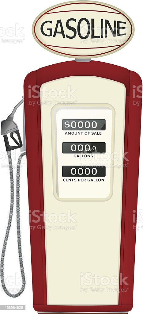 A graphic of a red vintage gasoline pump vector art illustration