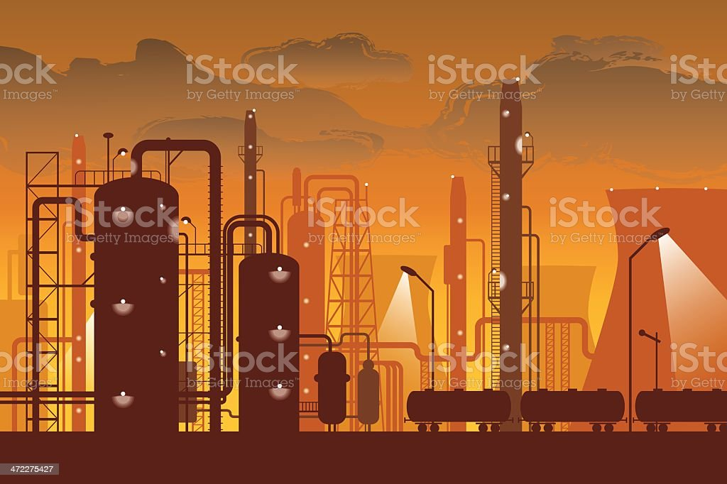 A graphic of a refinery in orange and brown royalty-free stock vector art