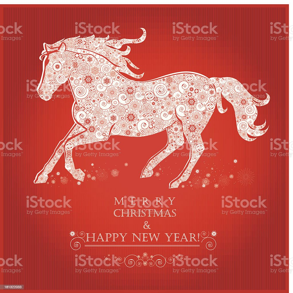 Graphic of a running horse on a bright red background royalty-free stock vector art