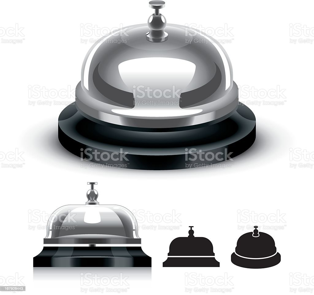 3D graphic of a silver service bell in gray and black vector art illustration