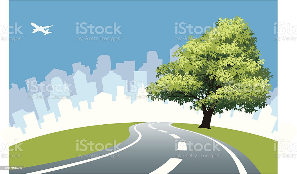 Graphic of a single tree by roadside vector art illustration