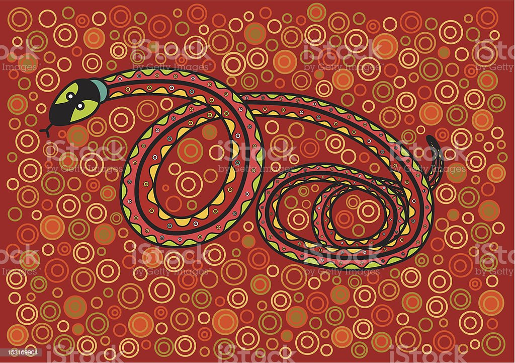 A graphic of a snake against a patterned red background royalty-free stock vector art