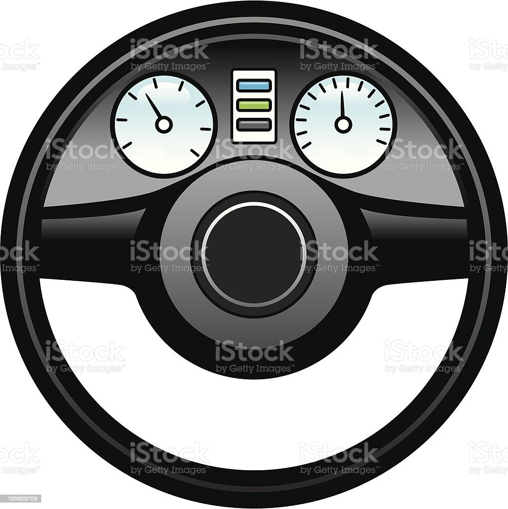 Graphic of a steering wheel and dashboard vector art illustration