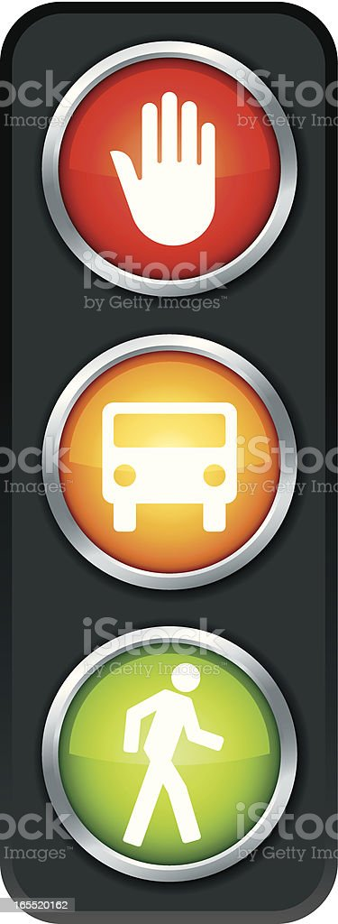 Graphic of a traffic light with symbols representing actions royalty-free stock vector art