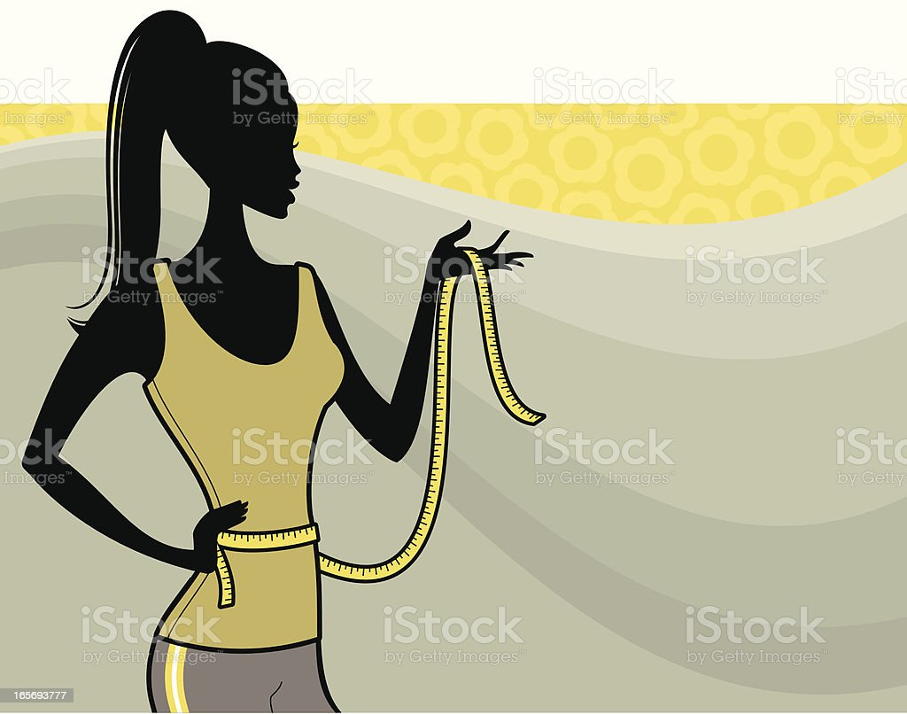 A graphic of a woman with a tape measure around her waist royalty-free stock vector art