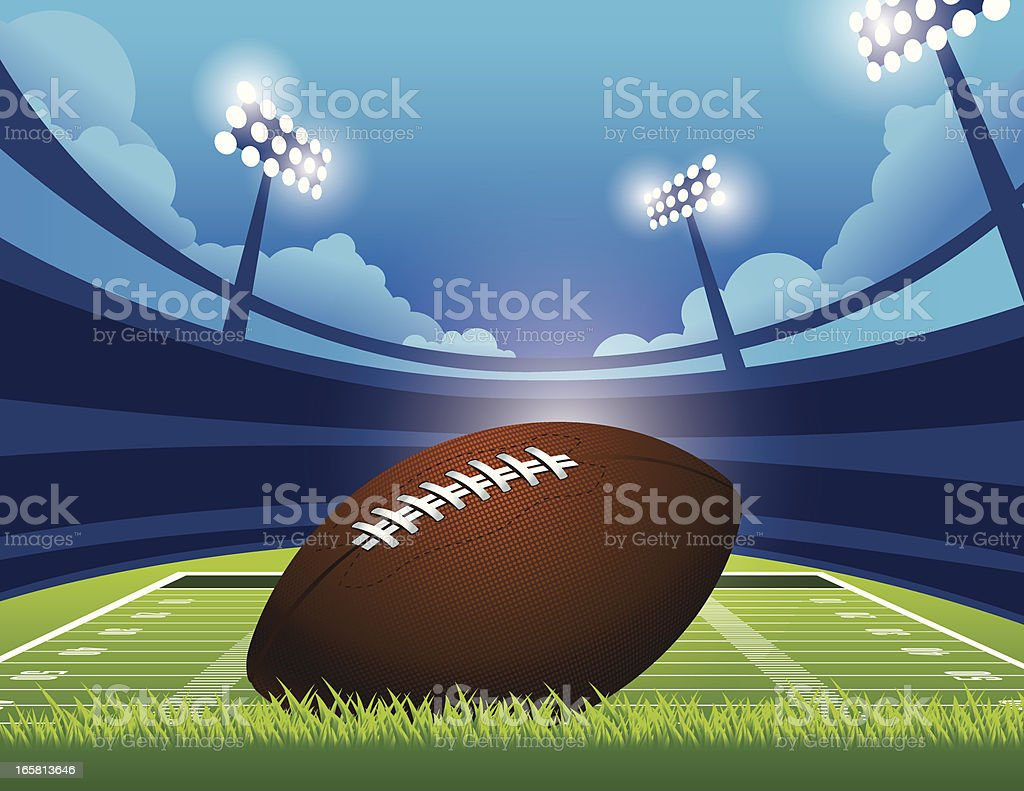 Graphic of an American football on a green stadium vector art illustration