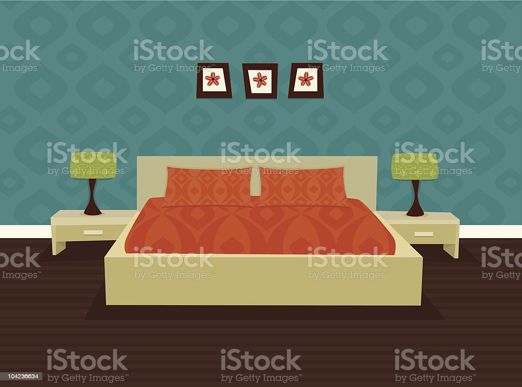 A graphic of an old style retro bedroom with lamps royalty-free stock vector art