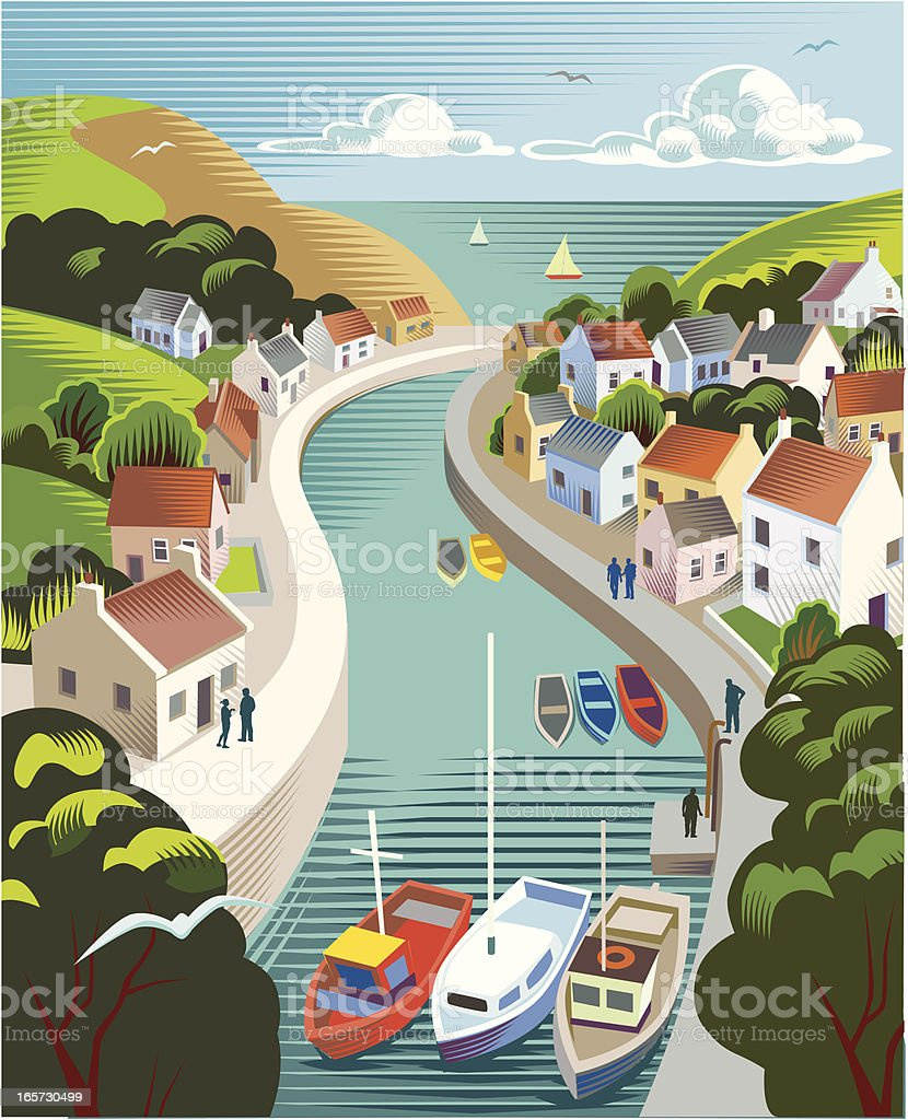 A graphic of boats on a stream passing through a town vector art illustration