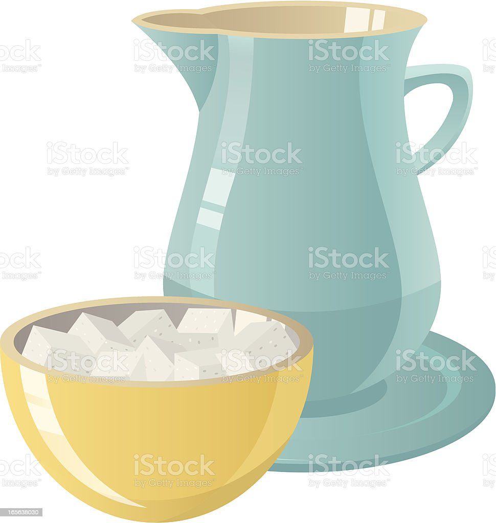 Graphic of bowl of sugar and pitcher of cream royalty-free stock vector art