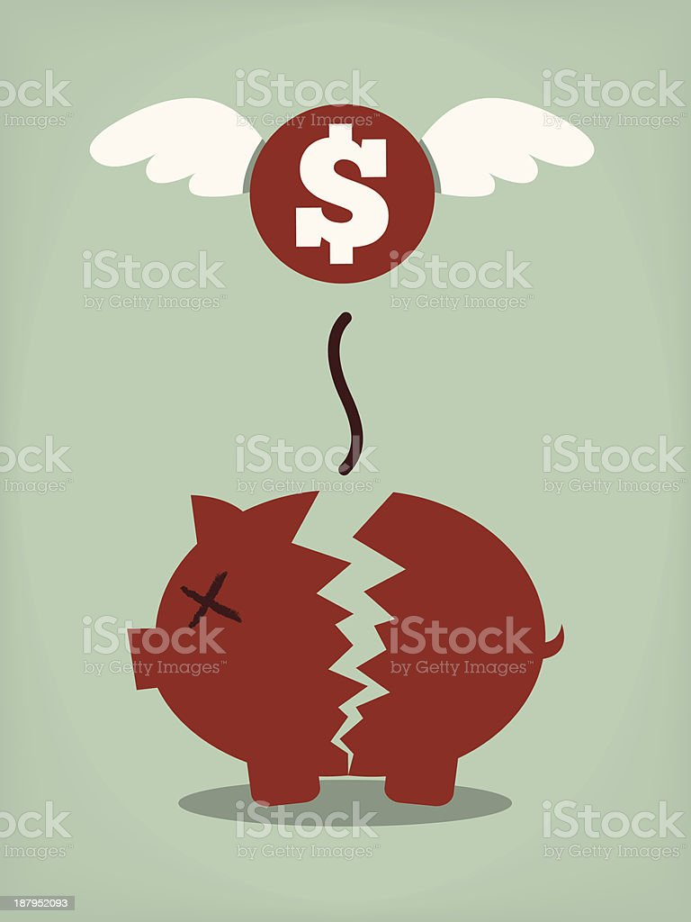 Graphic of broken piggy bank and a $ coin with angel wings vector art illustration
