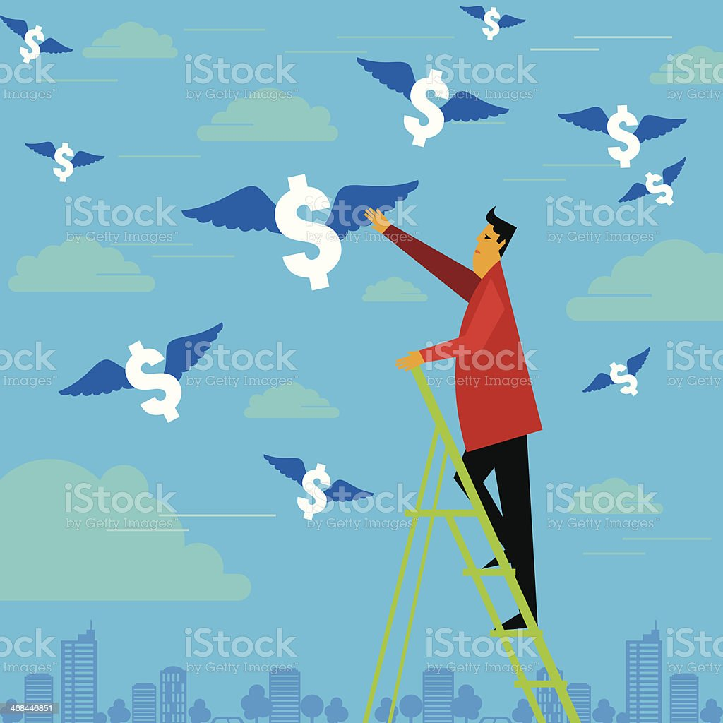 Graphic of businessman climbing ladder to reach dollar signs royalty-free stock vector art
