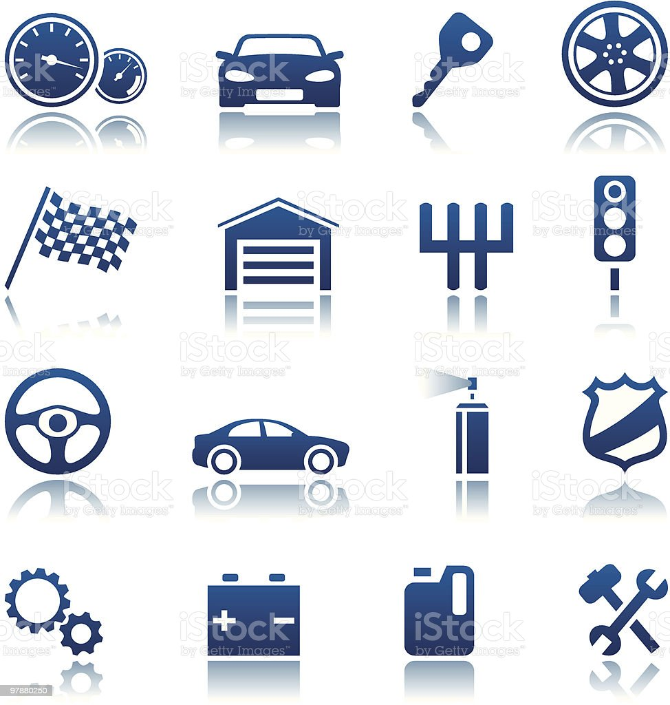 A graphic of car and racing icons royalty-free stock vector art