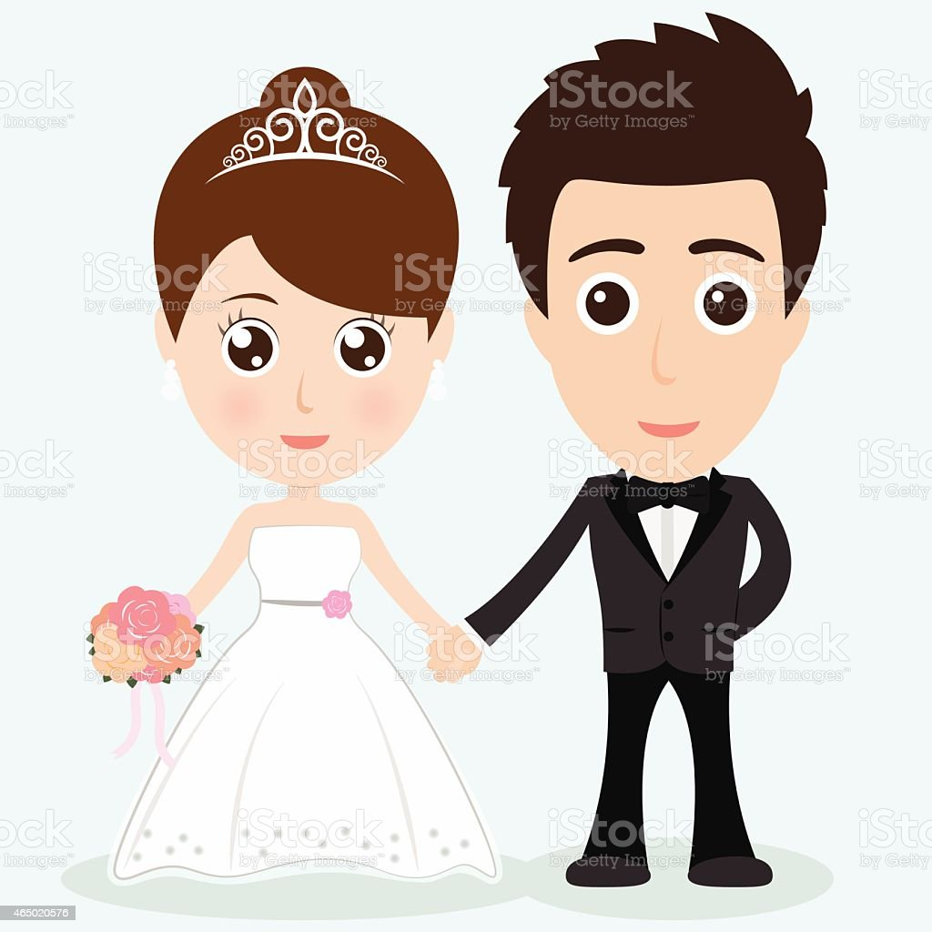 Graphic of cartoon bride and groom holding hands vector art illustration