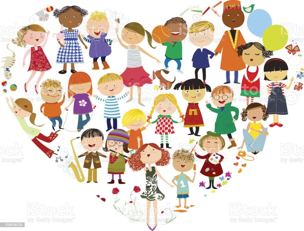 Graphic of children in friendships from around the world royalty-free stock vector art