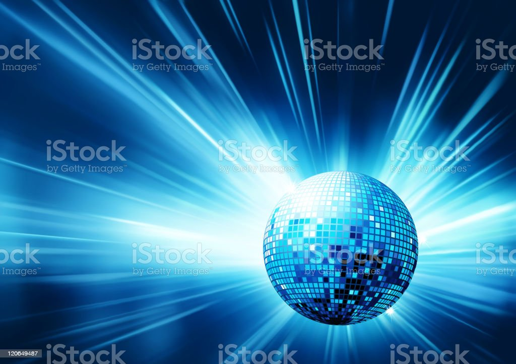 Graphic of disco ball reflecting blue light royalty-free stock vector art