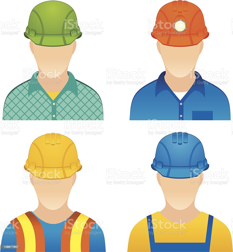 Graphic of four construction workers without facial features royalty-free stock vector art