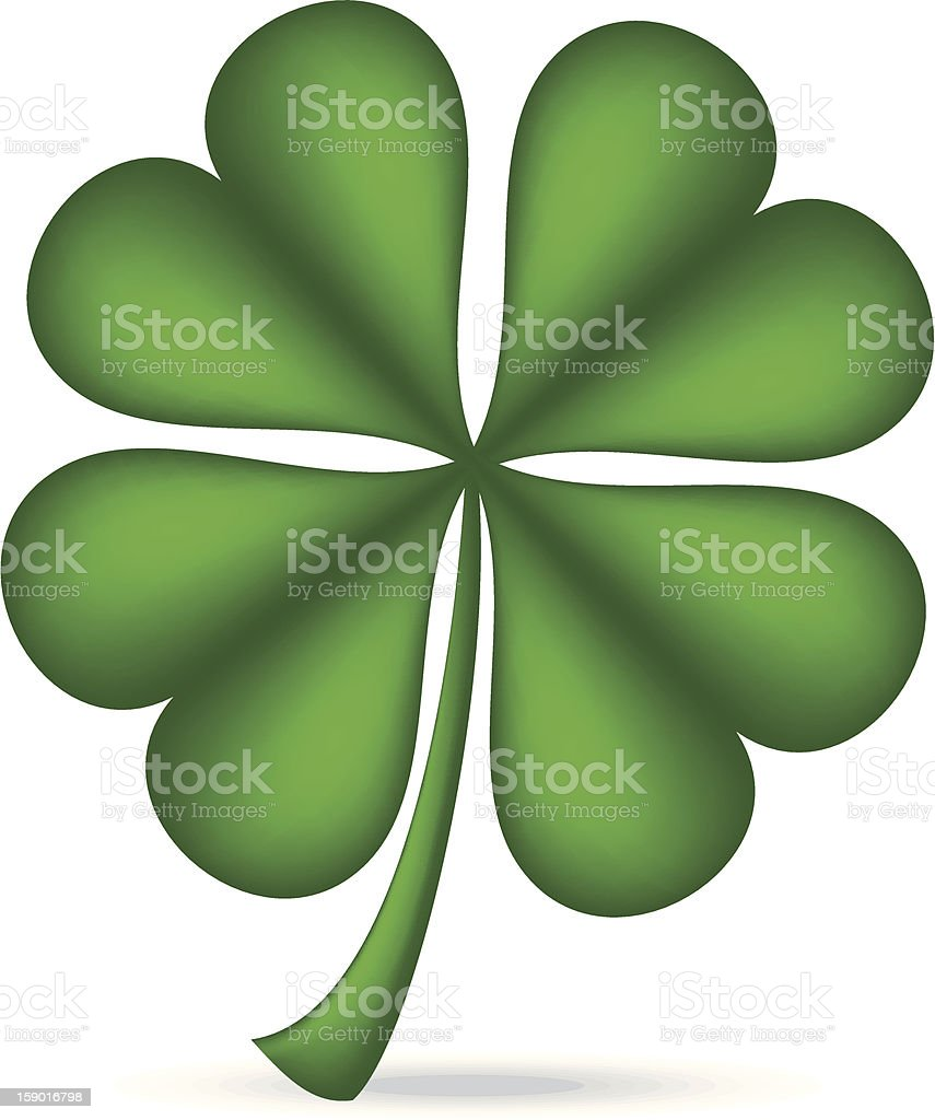 Graphic of green four leaf clover vector art illustration