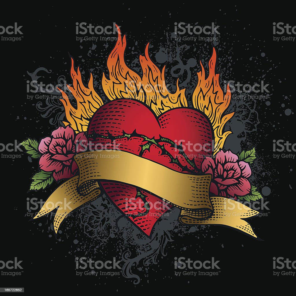 Graphic of heart on fire banner tattoo with roses vector art illustration