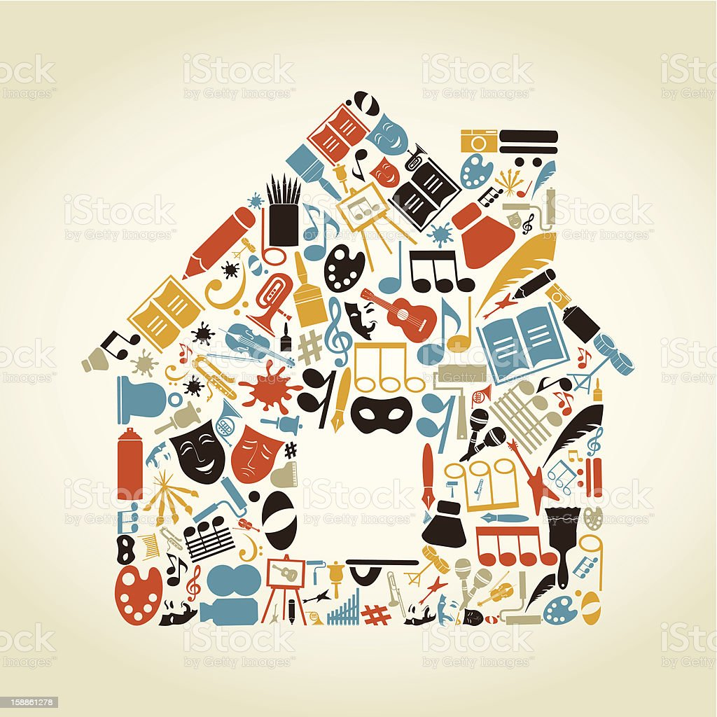 Graphic of house made of music and art icons royalty-free stock vector art
