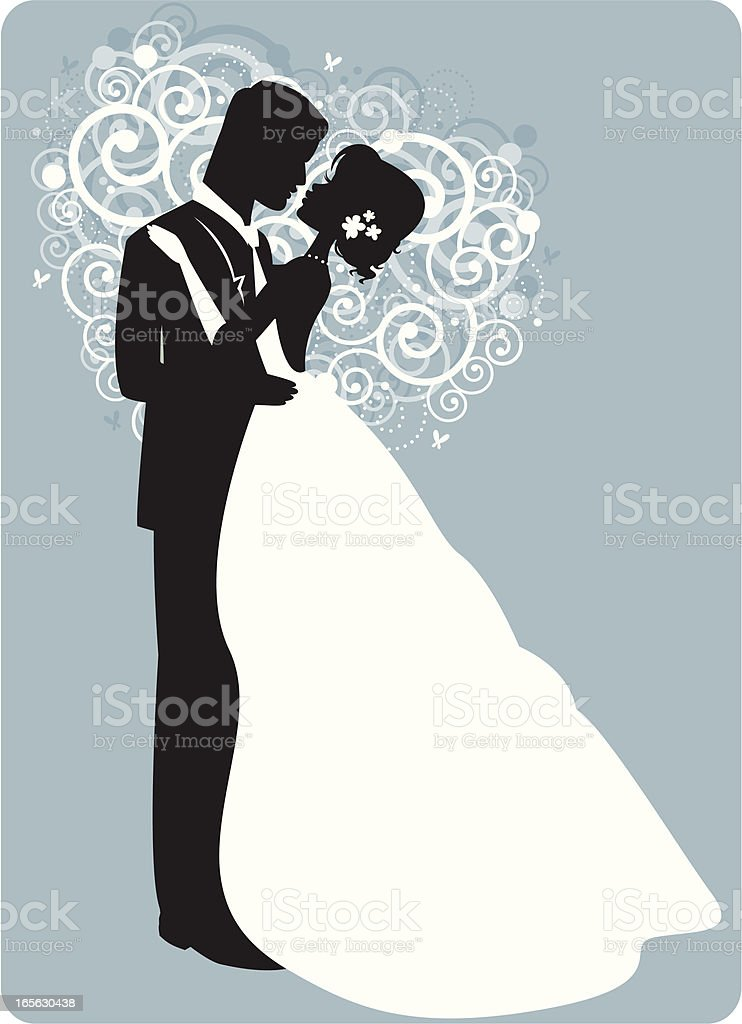 Graphic of husband and wife's first dance on blue background royalty-free stock vector art