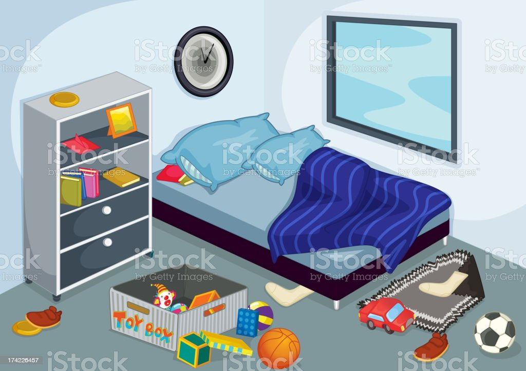 Graphic of interior of a bedroom interior during day vector art illustration