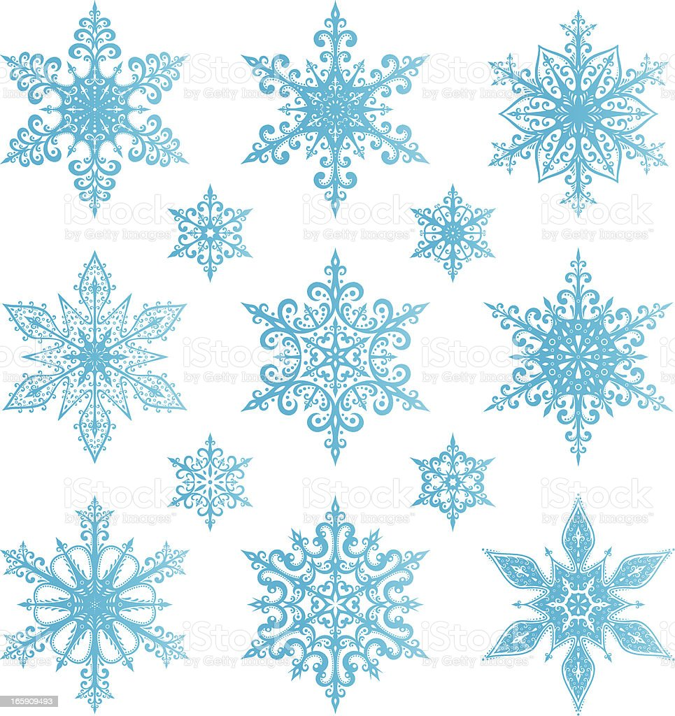 Graphic of light blue snowflakes on white background royalty-free stock vector art