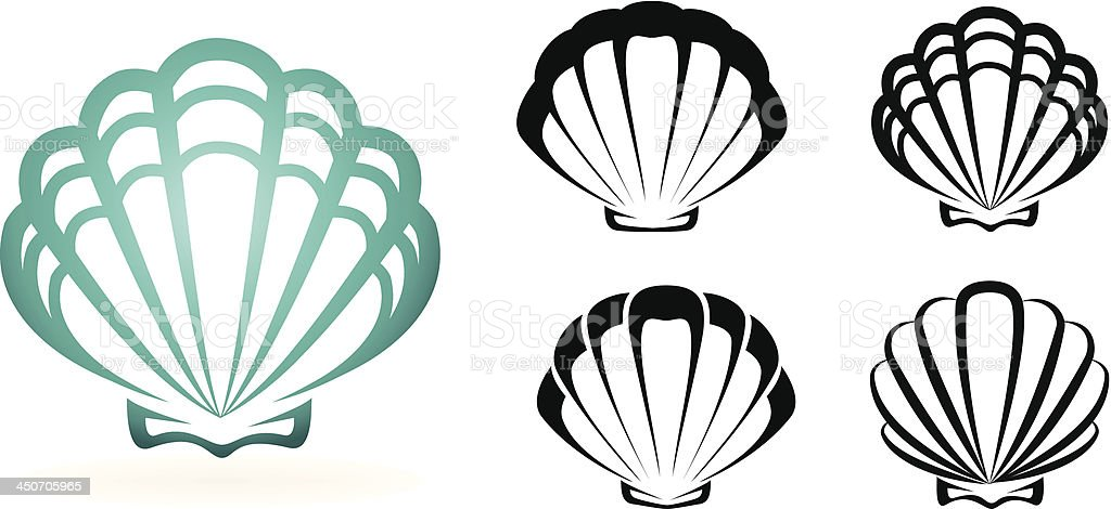 Graphic of one large teal shell and four small black shells vector art illustration