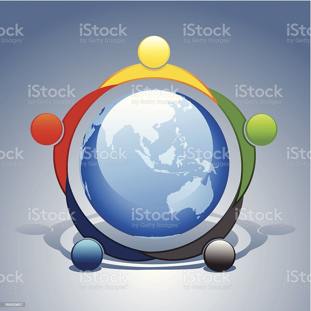 Graphic of people holding hands around the world royalty-free stock vector art