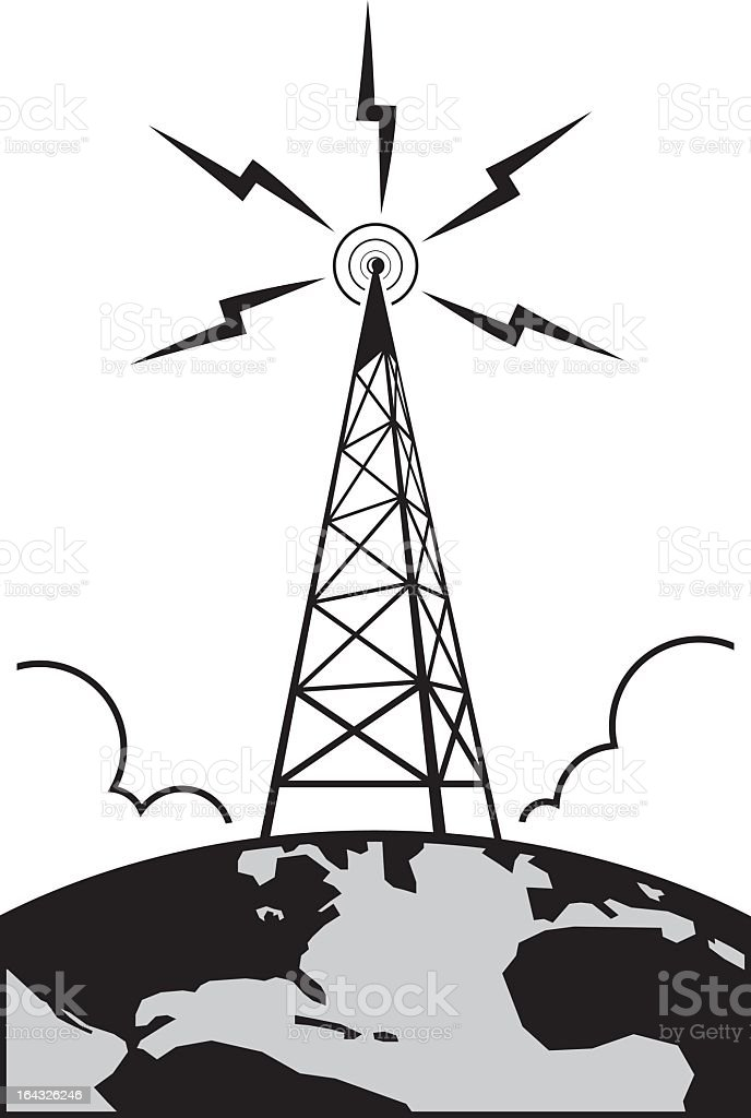 Graphic of radio tower with waves vector art illustration