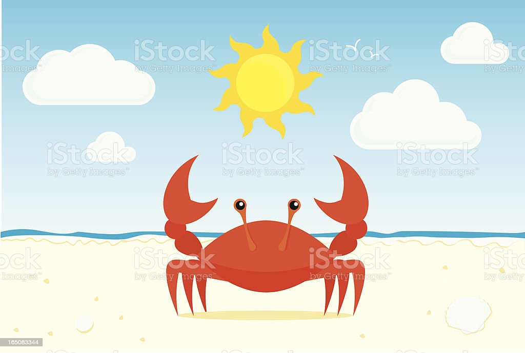 Graphic of red crab on a sunny beach vector art illustration