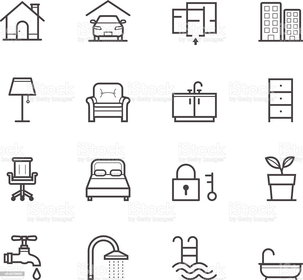 Graphic of simple house and real estate icons vector art illustration