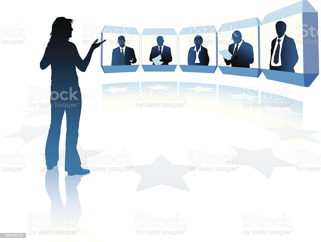 Graphic of six people in a video conference vector art illustration