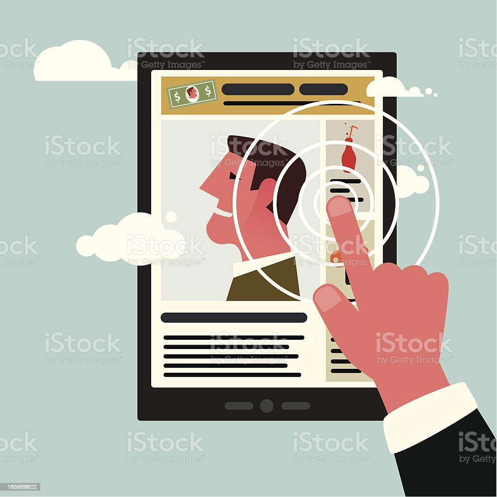 Graphic of someone using a touch screen royalty-free stock vector art