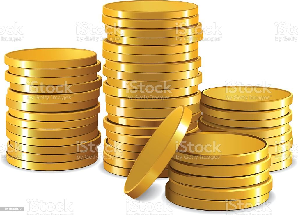 Graphic of stacks of plain gold coins with white background vector art illustration