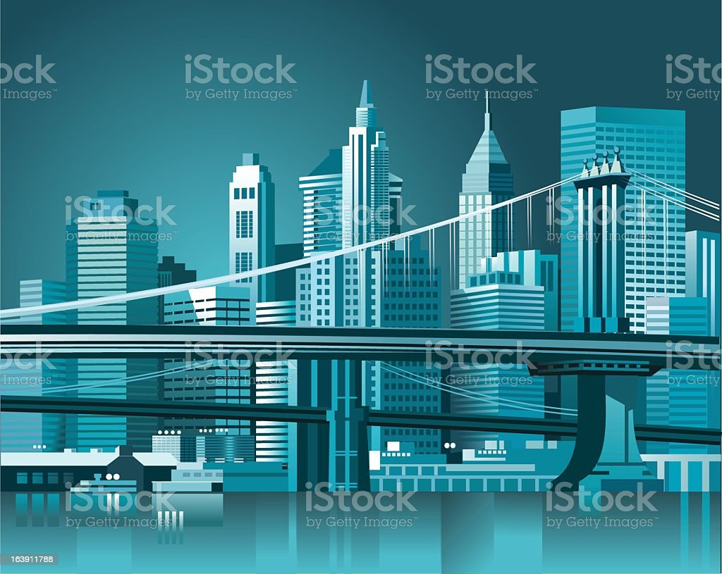 Graphic of the Brooklyn Bridge and Manhattan skyline royalty-free stock vector art