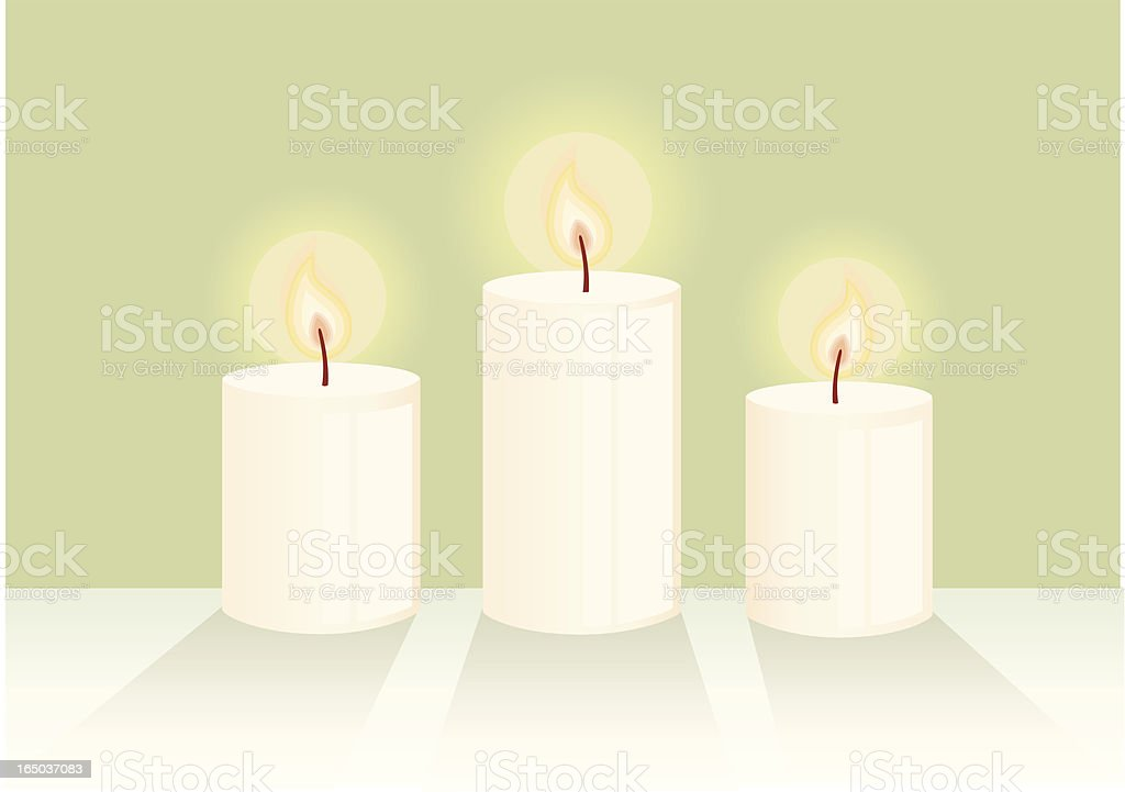 Graphic of three lit white candles royalty-free stock vector art