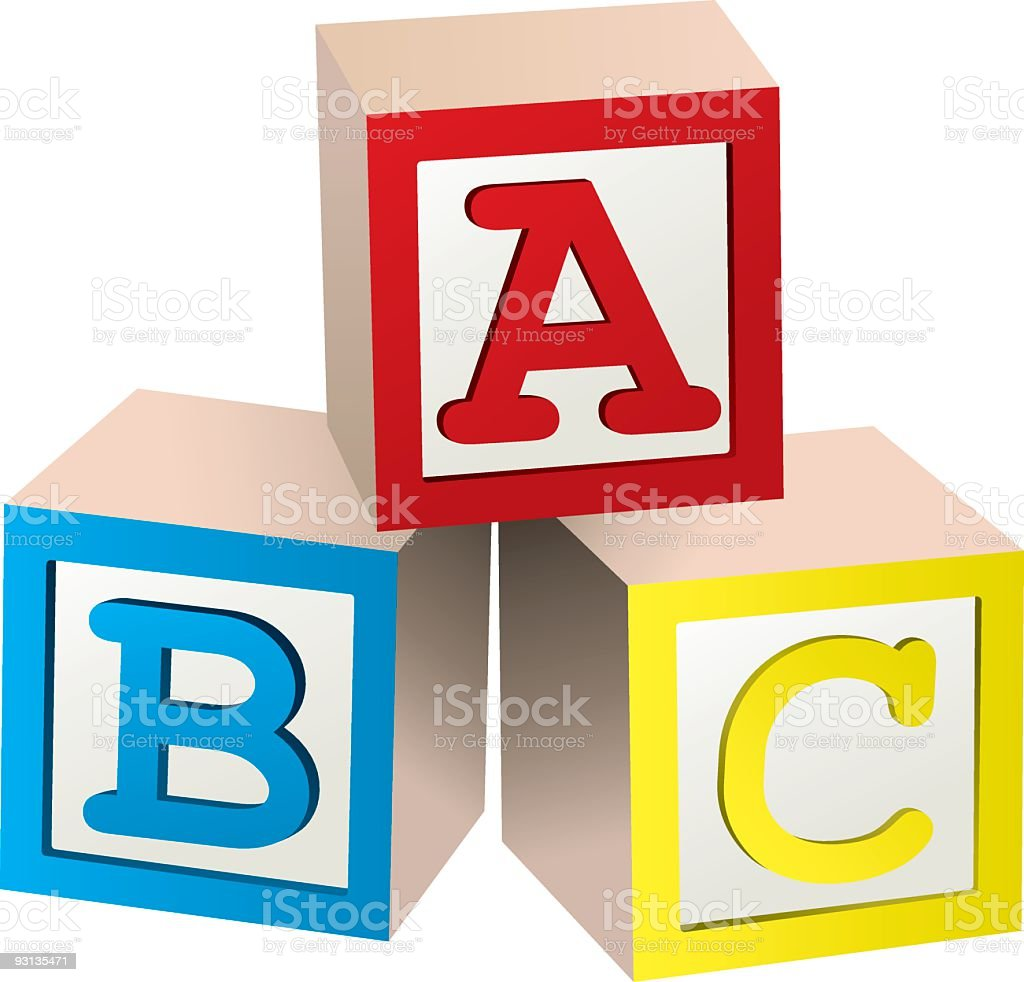 Graphic of three stacked ABC blocks vector art illustration