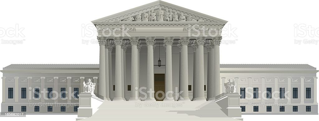 Graphic of US Supreme Court building on white background royalty-free stock vector art