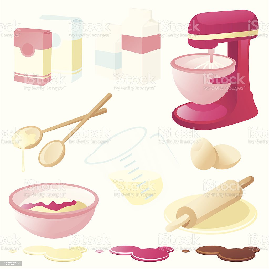 A graphic of various baking tools and ingredients vector art illustration