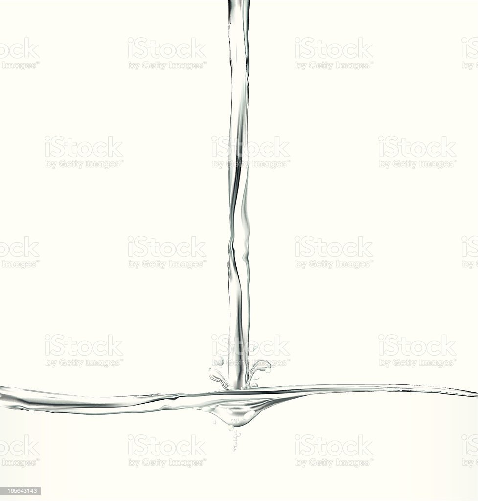 Graphic of water stream hitting liquid on white background royalty-free stock vector art