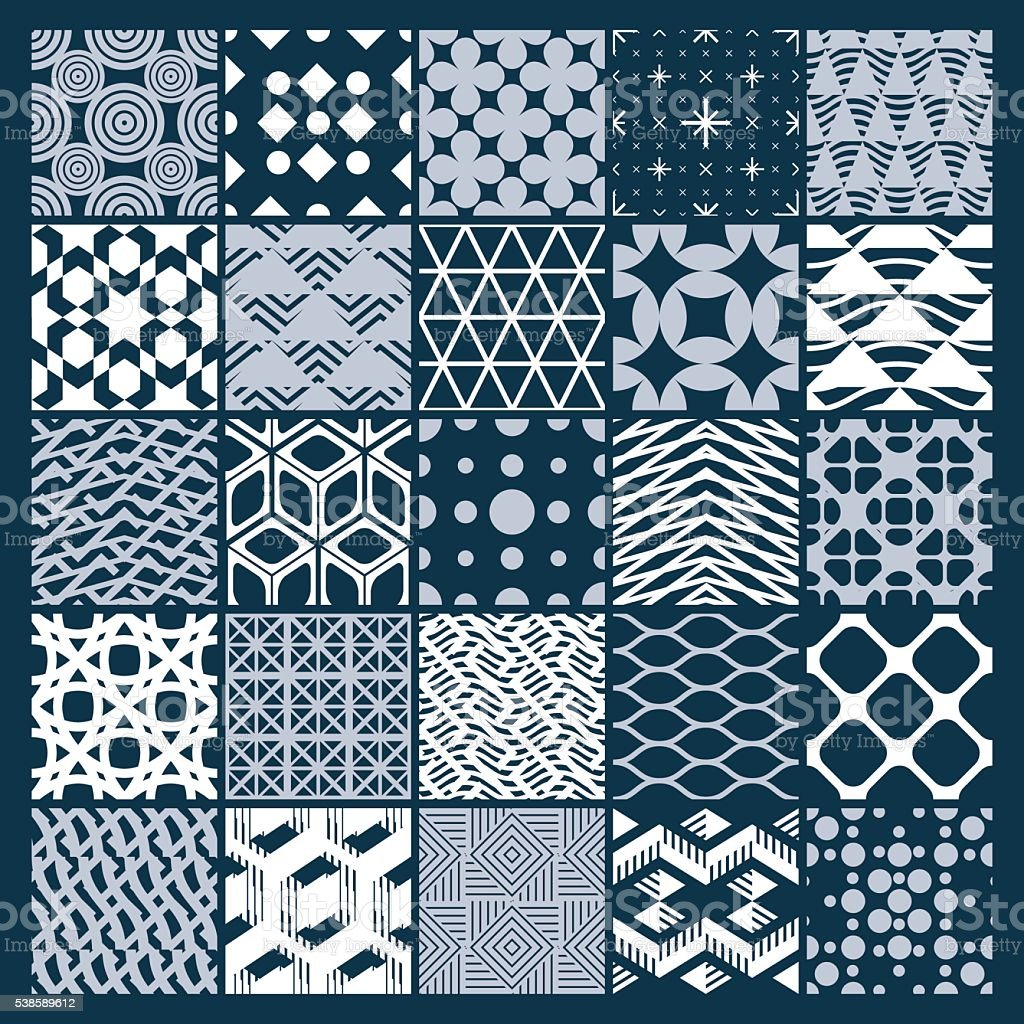 Graphic ornamental tiles collection, set of monochrome vector patterns vector art illustration