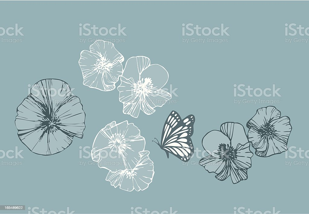 Graphic Poppies and Butterfly (vector) royalty-free stock vector art