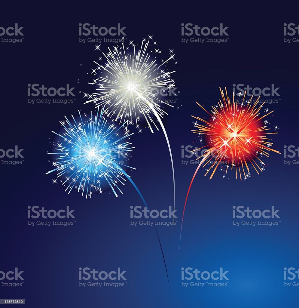 Graphic red, white and blue fireworks on blue sky background royalty-free stock vector art